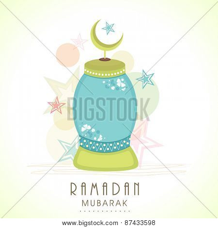 Arabic lamp with moon forholy month of muslim community, Ramadan Kareem celebration on stylish background.
