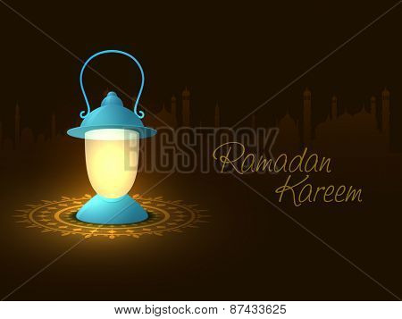 Holy month of muslim community, Ramadan Kareem celebration with illuminated arabic lantern on islamic mosque silhouette background.