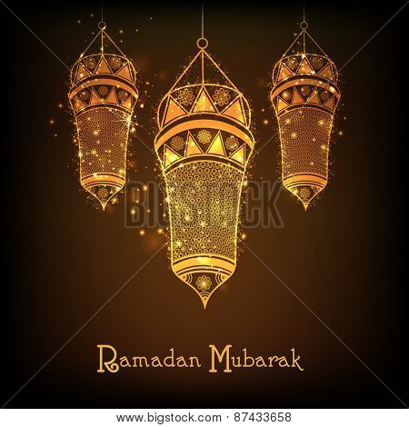 Holy month of muslim community, Ramadan Kareem celebration with floral decorated hanging golden arabic lantern on shiny brown background.