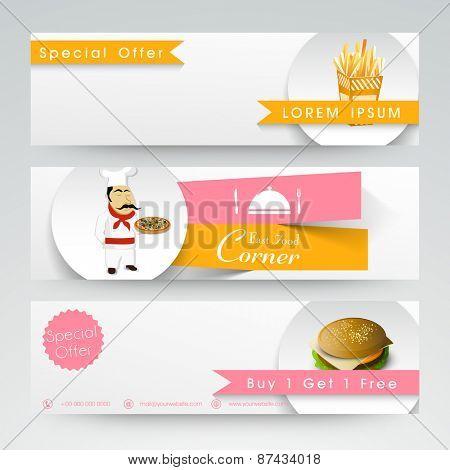 Website head and banner design for restaurants.