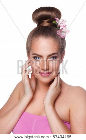 Beauty Young Woman With Concealer Under Eyes