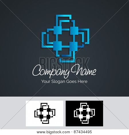 Stylish blue business symbol for your company or corporate sector.