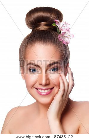 Beautiful Young Woman Apply Concealer Under Eyes