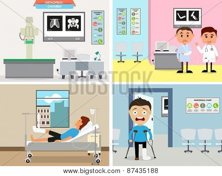 Illustration of cartoon doctor and patient in orthopedic chamber.
