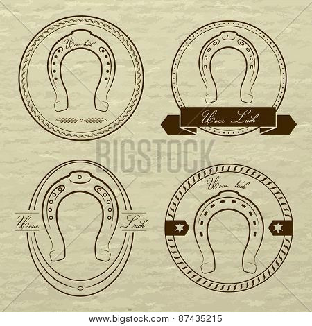 Horseshoe Logos In Different Styles. With The Inscription- Your
