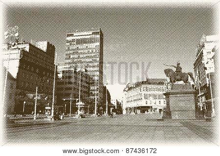 vector halftone main Zagreb square Trg bana Jelacica, retro style postcard