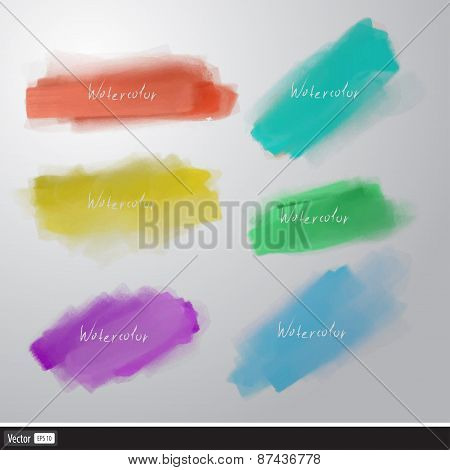 Watercolor Splatters. Vector Artistic Set Brush.