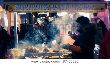 Traditional Korean Street Food   In South Korea.