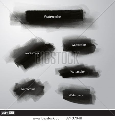 Realistic Set Black Texture Brush. Vector Watercolor Illustration