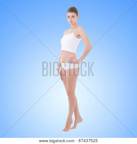 Full Length Portrait Of Young Beautiful Slim Woman In Cotton Underwear Over Blue