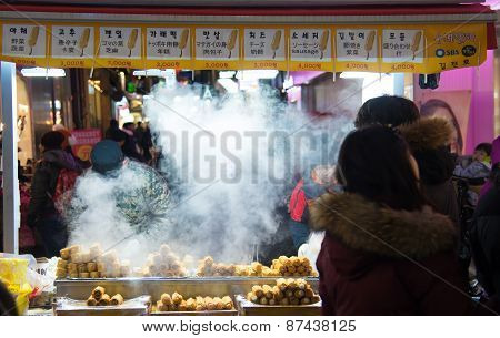 Traditional Korean Street Food In Seoul,south Korea
