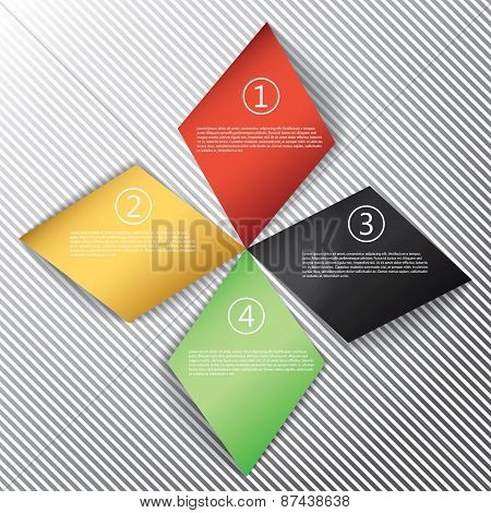 Modern business rhombus origami style options banner. Vector illustration. can be used for workflow