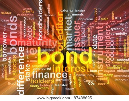Background text pattern concept wordcloud illustration of financial bond glowing light