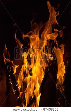 Close up of fire flames