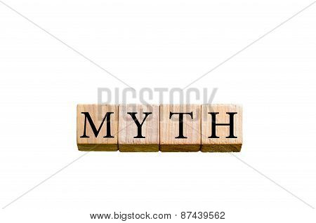 Word Myth Isolated On White Background With Copy Space