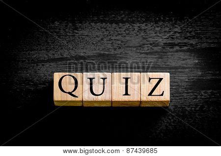 Word Quiz Isolated On Black Background With Copy Space