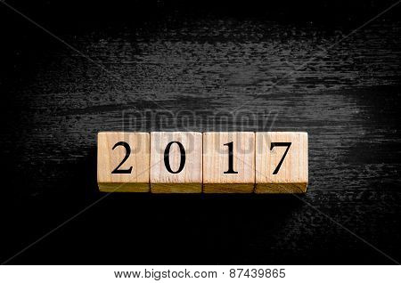 Year 2017 Isolated On Black Background With Copy Space