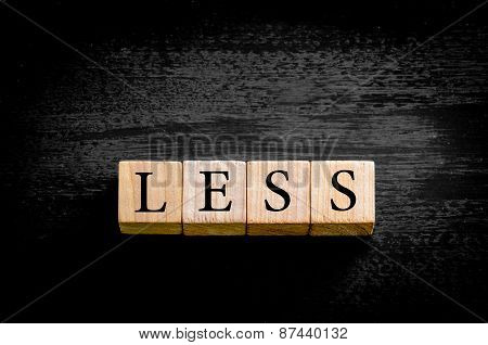 Word Less Isolated On Black Background With Copy Space