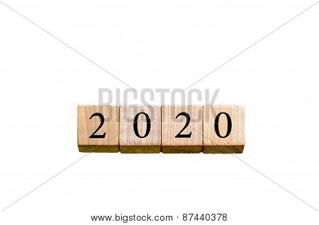 Year 2020 Isolated On White Background With Copy Space