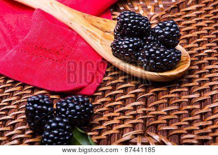 Blackberry On Wicker Background