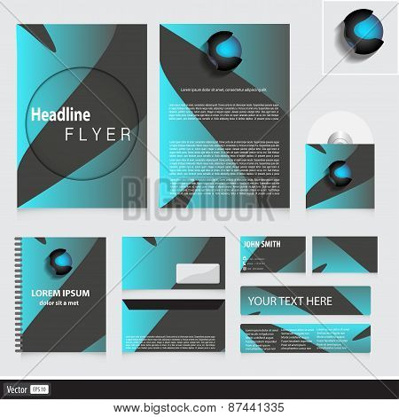 Modern Corporate Identity For Your Company With Waves. Creative Vector Illustration.