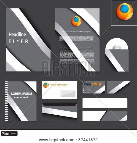Grey Corporate Identity Template With Metal Waves For Your Company. Vector Modern Design.