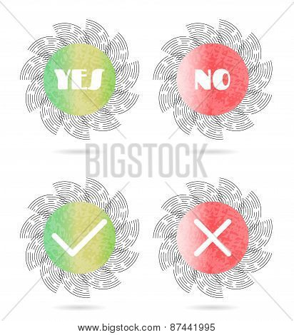 Set, collection of four, isolated, round, green, red icons, buttons with white text Yes, No and simp