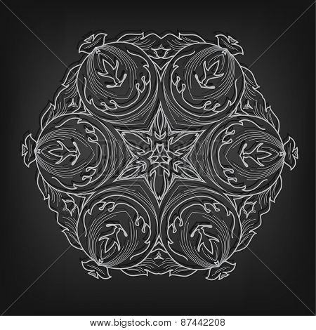 Vector vintage circle pattern in Victorian style. Ornate element for design. Ornamental pattern for wedding invitations, greeting cards, monograms.