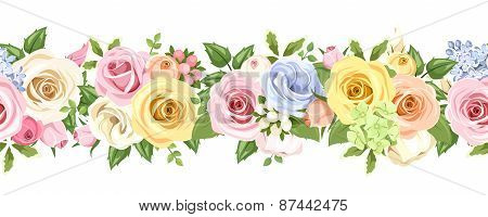Roses flowers horizontal seamless