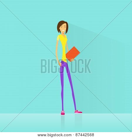 Young woman student hold books casual clothes flat
