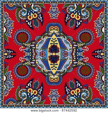 red ornamental floral paisley bandanna