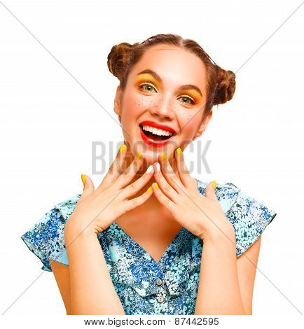 Beauty Teenager Model Girl. Beautiful Joyful teen girl with freckles and yellow makeup. Professional
