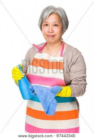 Asian elderly woman use of detergent fo cleaning