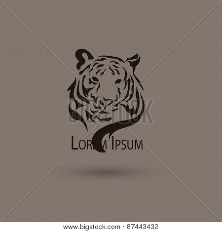 Artistic Vector Silhouette Face Tiger. Creative Idea Of A Wild Animal Icons.