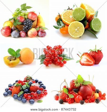 Set various berries and fruits (strawberries, currant, apricots and citrus )