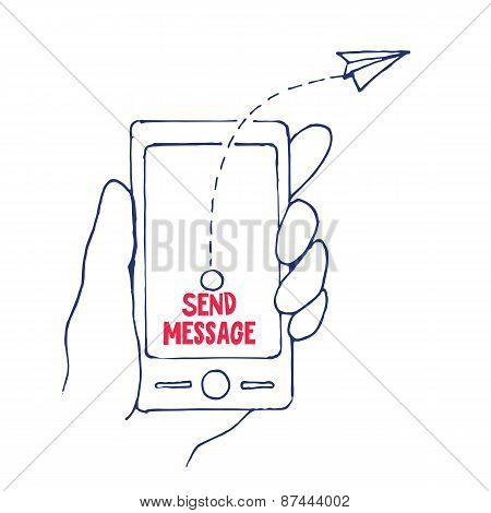 Send Message from Cell Phone in a Hand, Vector Illustration