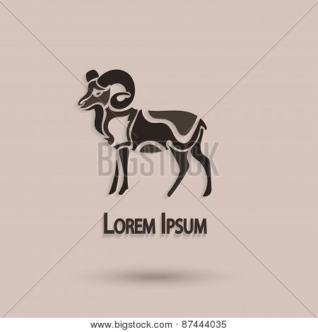Vector Silhouette Of A Ram. Stylized Animal With A Brown Background. Creative Artistic Idea.