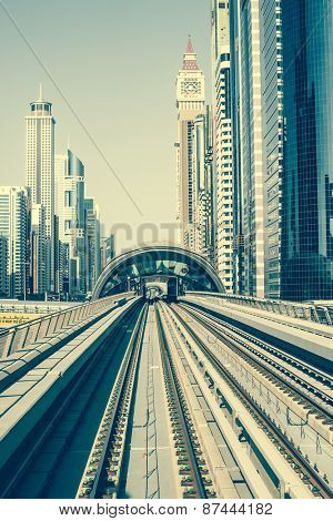 Dubai, United Arab Emirates - December 19, 2013: Dubai Metro is world's longest driver less, fully automated metro network in Dubai, United Arab Emirates