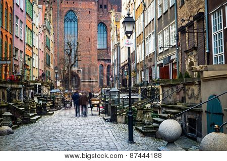 Gdansk, Poland - March 14, 2014: Architecture of Mariacka street in Gdansk is one of the most notable tourist attractions in Gdansk.