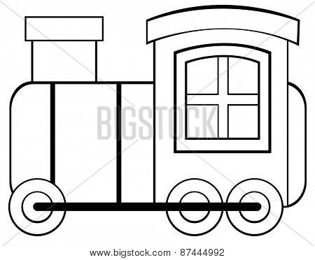 Toy train with chimney and wheels