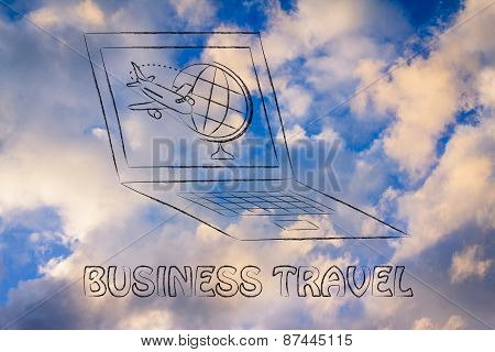Travel Industry: Airplane And Globe On A Computer Screen