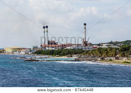 Fuel Plant On Coast Of Curacao