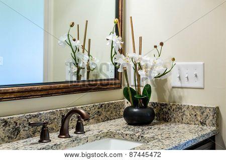 Orchids On Granite Bath Countertop