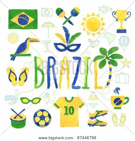 Watercolor Brazil Icons
