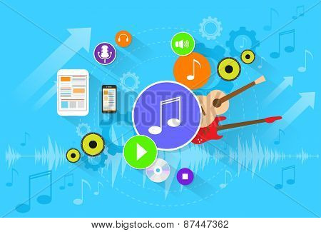 music banner color icon flat set vector