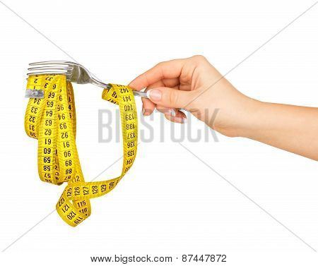 Concept Of Diet. Hand Holding A Fork With Measuring Tape On A White Background