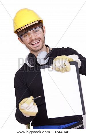 Happy Worker With Clipboard