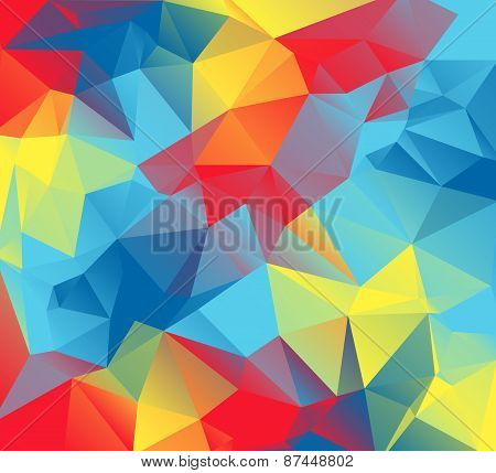 Abstract Triangular Background Illustration With Autism Awareness Colors