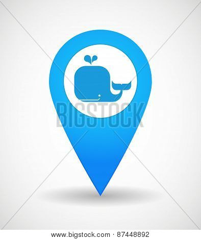 Map Mark Icon With A Whale