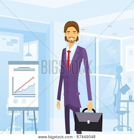 business man with briefcase suit at office